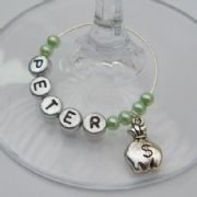 Money Bag Personalised Wine Glass Charm